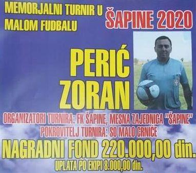 """Memorijalni turnir u malom fudbalu """"Perić Zoran"""" Šapine 2020."""