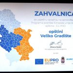 Zahvalnica opštini Veliko Gradište za uspešnu saradnju na sprovođenju Programa podrške Evropske unije razvoju opština — EU PRO